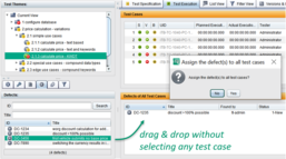 If no test case is selected in the test case table, an error is assigned to all test cases.